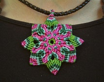 Macrame Mandala - Macrame Jewelry - Leather & Macrame Accessories - Gift Idea - Handmade Accessories