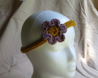 Gold Headband with Purple Flower for Baby/Child