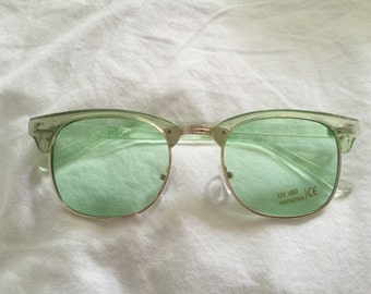 Retro Summer Green Gold Clubmaster Sunglasses