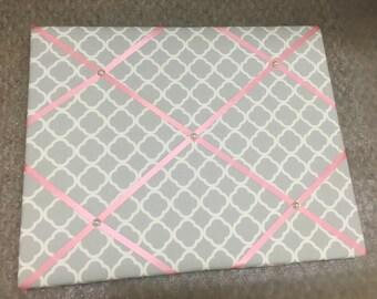 Gray White Quatrefoil Memo Board Choose your ribbon color! Quatrefoil Memo Board