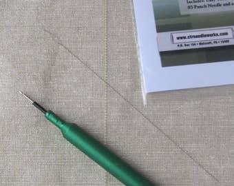 Punch Needle CTR 3 Strand Punch Needle with Longer Handle & Wider Handle - PunchNeedle Tool - Green CTR Needle Works