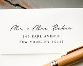 Self-Inking Return Address Stamp, Custom Stamp, Personalized Rubber Stamp Handwritten Font, Wedding Invitation RSVP Card Envelope Addressing