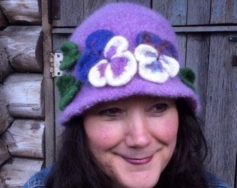 Felted Wool Purple Pansy Hat, size M/L