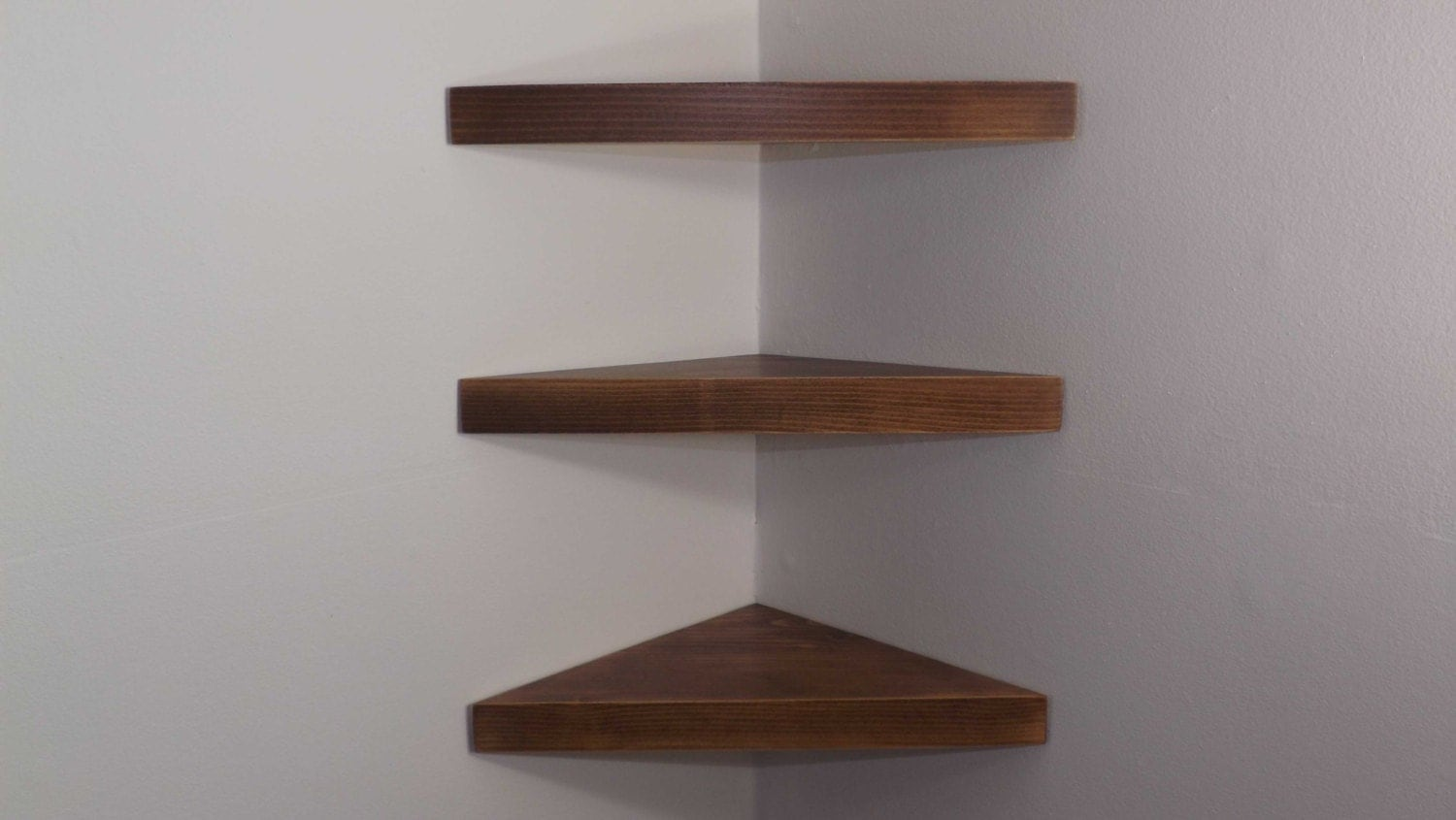 Set of 3 14 Inch Floating Corner Shelves with Dark Walnut Stain Handmade in  the USA