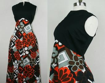 60s Maxi Dress Flower Power Hippie L
