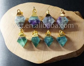 WT-P650 Wholesale amazing Natural rainbow fluorite pendant , lovely tiny natural color fluorite point pendant