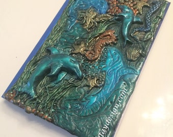 Sea World Polymer Clay note- / diary unique