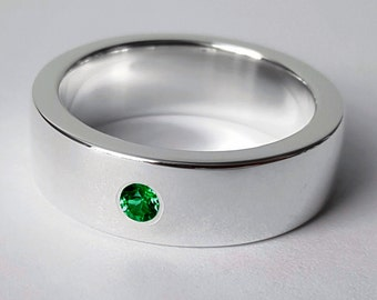 Wide Sterling Silver Emerald Band - Sterling Silver Emerald Ring, Emerald Wedding Band, Heavy Emerald Band, Sterling Silver Wide Band