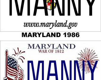 Personalized Maryland Refrigerator Magnet State License Plate Replica