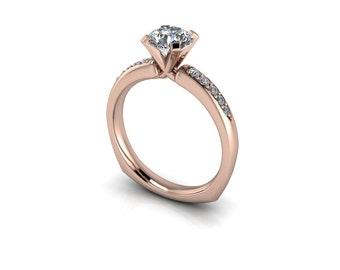 Forever One Round Brilliant Moissanite Pavé Euro Shank Diamond Engagement Ring