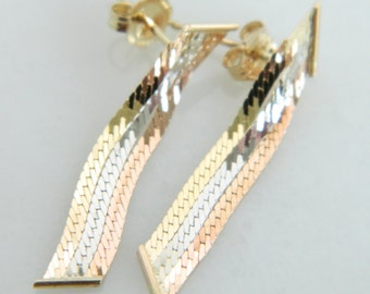 Beautiful Vintage 14K Tri Color Gold Earrings