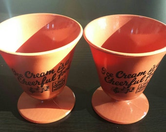 Vintage Dairy Guild milk glass ice cream sundae cups. Set of 2. Mint condition.