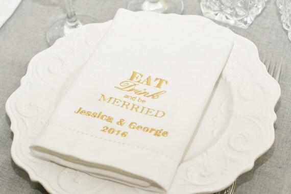 Serviettes de table personnalis brod blanc serviettes de - Serviette de table personnalise ...