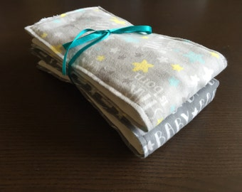 Gender neutral or baby boy a star is born cloth diaper burp cloth set
