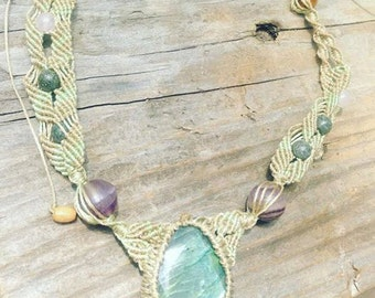 Macrame Necklace - Icy River