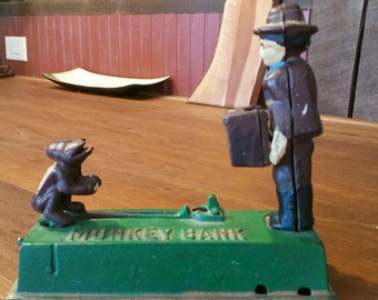 Vintage Cast Iron Monkey Bank / Coin Bank Collectable / Monkey with Organ Grinder