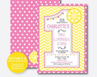 Instant Download, Editable Pink Lemonade Birthday Invitation, Pink Lemonade Invitation, One Invitation, First Birthday Invitation (SKB.36C)