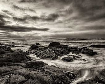 Beach Photography, Zen, Fine Art Black and White Photography, Landscape Photography, Ocean, Nature, Wall Art, Home Decor, Clouds, Monochrome