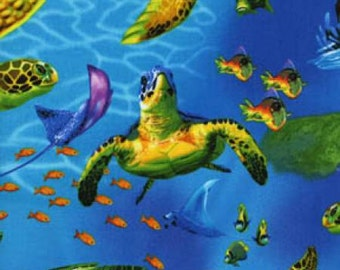Sea Turtle Fabric - Blue Sealife - Timeless Treasures - 100% Cotton - Sold by the half yard