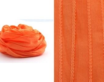 Handmade Habotai silk band Tangerine, 2 x 100 cm · 100% silk, hand-sewn and hand-dyed wrap bracelet, jewelry band - P7644U