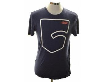 G-Star Mens T-Shirt Top Medium Blue Cotton