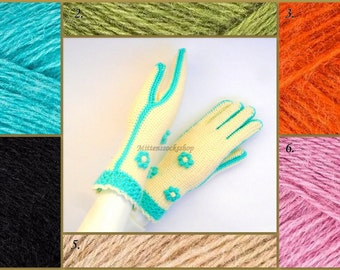 Gloves with Fingers Hand Knitted White with Light Blue Gloves with Fingers Knitted Gloves Elegant Women's Gloves with Fingers Knitted Mitts