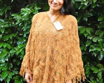 Wool Poncho, Women Poncho, Gray Poncho, Hand knitted Poncho