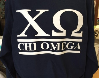 Custom Chi Omega Collegiate Style Comfort Colors Tanks, Short Sleeves, Long Sleeves, and Sweatshirts