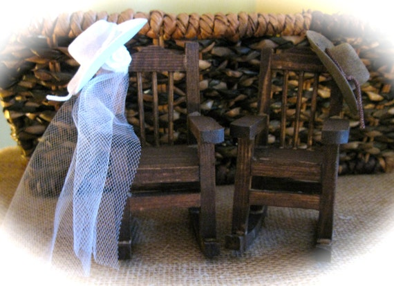 Country Western Mini Rocking Chair Cake Topper with Cowboy Hats and Veil