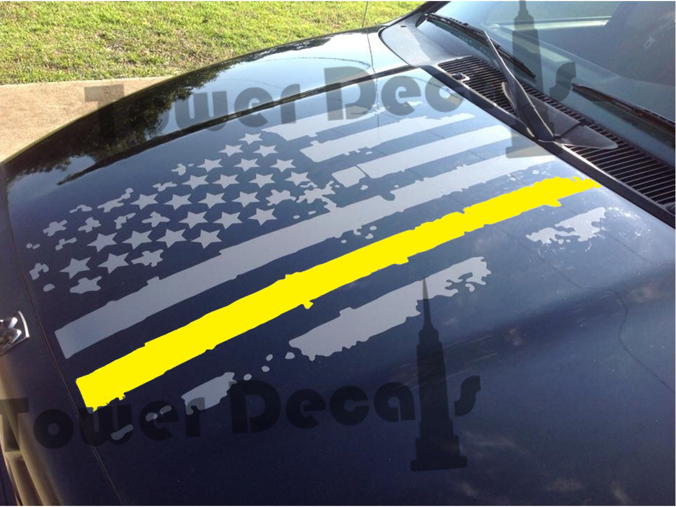 Distressed American Flag Hood Thin Yellow Line Army Military