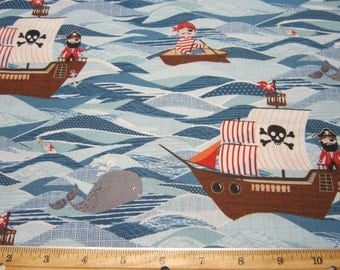 Pirate Ships in Blue Sea Cotton Fabric Designed by The Henley Studio for Makower UK Fabrics