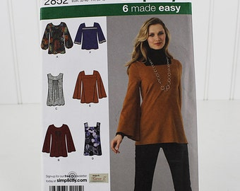 Easy Stretch Pullover Top Pattern, Simplicity  2852, stretch sewing pattern, Size 6-14