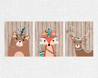 INSTANT DOWNLOAD Tribal nursery decor, tribal animals nursery art Bear Fox Fawn, woodland decor, rustic nursery wall art Set of 3, 8x10