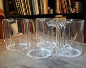 Rare Clear Heller Massimo Vignelli Coffee Tea MAxi Mugs 1960s Mid-Century Modern Modular