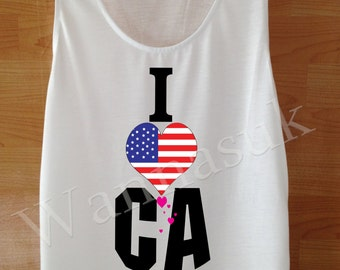 America shirt, America Flag tops, america tank tops, Handmade Screen Print White Fancy american flag Clothing Women America tee T Shirts SML