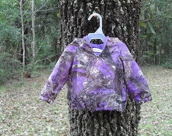 True Timber Mc2 Purple Camo fabric#18 in the fabric selection. light weight hoodie! Sizes from NB to size 10. Select size below