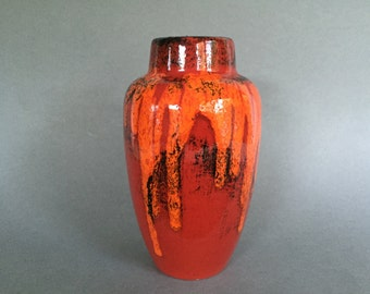Scheurich  549  -  21   Vintage Red / Orange ceramic Fat Lava Era vase Mid Century Modern 1960s West Germany.