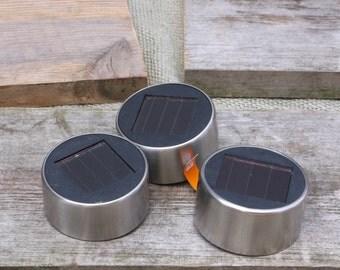 set of, 3 SILVER, mason jar Solar Lids, Mason Jar Solar Lanterns, Mason Jar Luminaries, Garden Lights, Wedding, Hand Crafted
