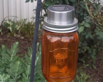 hanging homemade solar mason jar, SALE, hanging solar mason jar,Wire hanger, garden light, pathway light, walkway luminaries