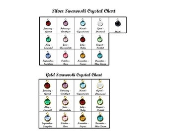 Swarovski Birthstone Add•On • Gold Birthstone Silver Channel Drop Birthstone Charm • Gold Flat Crystal Birthstone Jewelry Colored