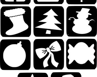 Refill Stencils Only #16 - 11 X Christmas Glitter Tattoo Stencils Refill Your Glitter Tattoo Kit