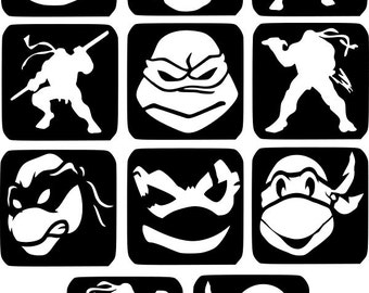 Refill Stencils Only #19 - 11 X Ninja Turtles Glitter Tattoo Stencils Refill Your Glitter Tattoo Kit