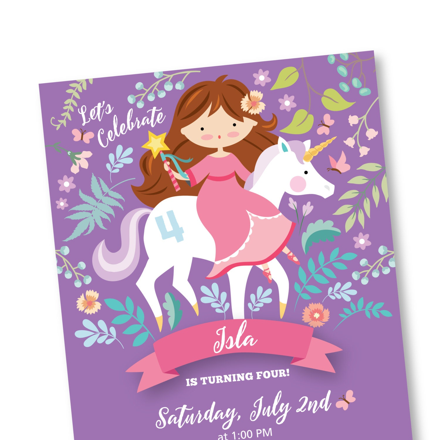 Princess & Unicorn Invitation, Printable, Customized, DIY invitation ...