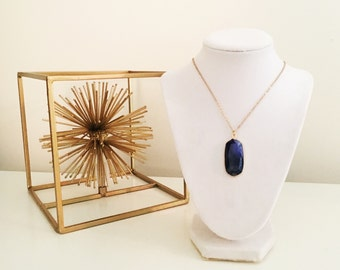 LIMITED EDITION Blue Agate Druzy Geode Pendant Long Gold Necklace