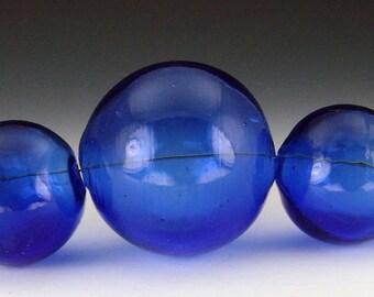 Blown Glass Hollow beads in Cobalt, set of 5 graduated beads