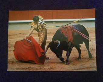 Postcard Bull Fight Unused Spain Vintage Sports Matador