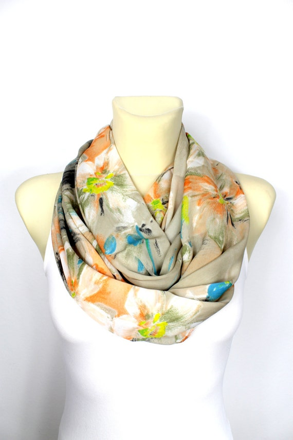 Gift for Mom Silk Infinity Scarf Boho Infinity Scarf Floral Loop Scarf Satin Scarf Mothers Day Gift from Husband Summer Outdoor Summer Party