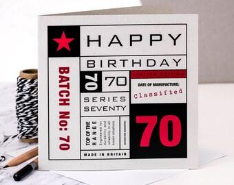 70th Birthday Card; You're 70 Card; 70th Birthday Card For Husband; 70th Birthday Card For Dad; Card For Men; GC142