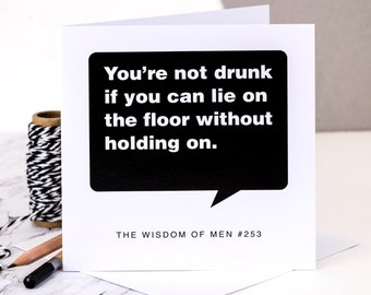 Funny Birthday Card For Men; 'Drunk'; 18th Birthday Card; Card For Men; Card For Him; Funny Card For Son; GC100