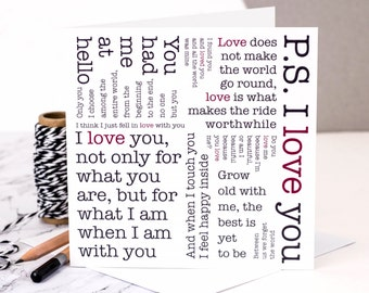 I Love You Card; Love Quotes Card; Wedding Anniversary Card; Valentine Card; Valentine's Day Card; PS I Love You; Love; GC016